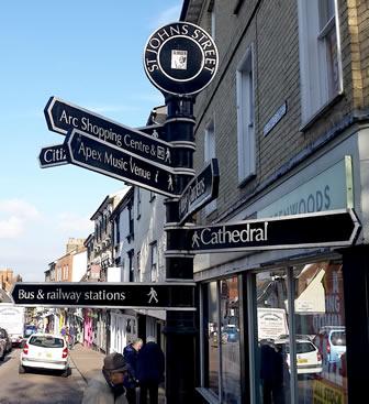 Bury St Edmunds St. Johns Street signpost